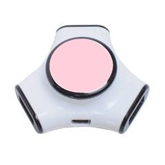 Light Soft Pastel Pink Solid Color 3-Port USB Hub