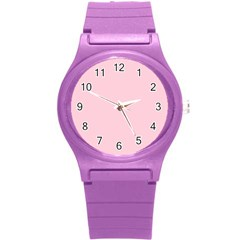 Light Soft Pastel Pink Solid Color Round Plastic Sport Watch (S)
