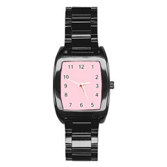 Light Soft Pastel Pink Solid Color Stainless Steel Barrel Watch
