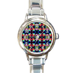 Colorful Bright Seamless Flower Pattern Round Italian Charm Watch