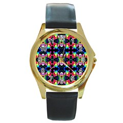 Colorful Bright Seamless Flower Pattern Round Gold Metal Watch