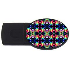 Colorful Bright Seamless Flower Pattern USB Flash Drive Oval (2 GB)