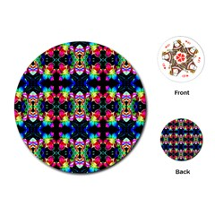 Colorful Bright Seamless Flower Pattern Playing Cards (Round)