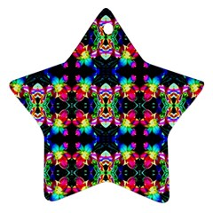 Colorful Bright Seamless Flower Pattern Star Ornament (Two Sides)