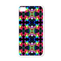 Colorful Bright Seamless Flower Pattern Apple iPhone 4 Case (White)