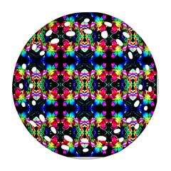 Colorful Bright Seamless Flower Pattern Ornament (Round Filigree)