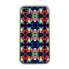 Colorful Bright Seamless Flower Pattern Apple iPhone 4 Case (Clear)