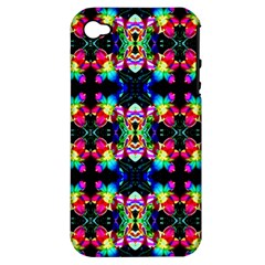 Colorful Bright Seamless Flower Pattern Apple iPhone 4/4S Hardshell Case (PC+Silicone)