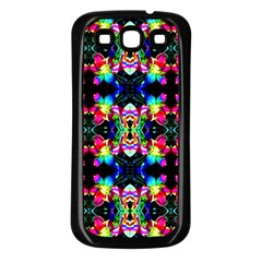 Colorful Bright Seamless Flower Pattern Samsung Galaxy S3 Back Case (Black)