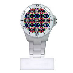 Colorful Bright Seamless Flower Pattern Plastic Nurses Watch