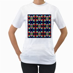 Colorful Bright Seamless Flower Pattern Women s T-Shirt (White)