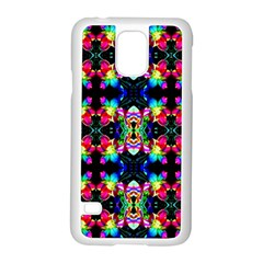 Colorful Bright Seamless Flower Pattern Samsung Galaxy S5 Case (White)
