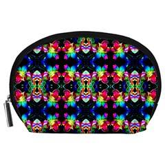 Colorful Bright Seamless Flower Pattern Accessory Pouches (Large)