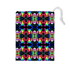 Colorful Bright Seamless Flower Pattern Drawstring Pouches (Large)