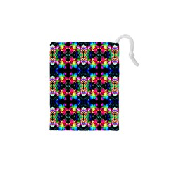 Colorful Bright Seamless Flower Pattern Drawstring Pouches (XS)