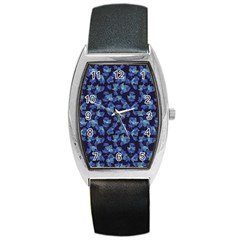 Autumn Leaves Motif Pattern Barrel Style Metal Watch