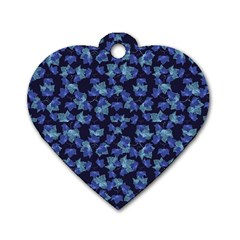 Autumn Leaves Motif Pattern Dog Tag Heart (Two Sides)