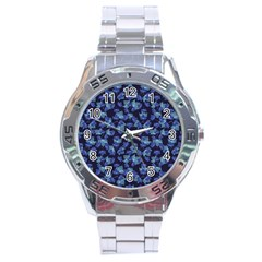 Autumn Leaves Motif Pattern Stainless Steel Analogue Watch