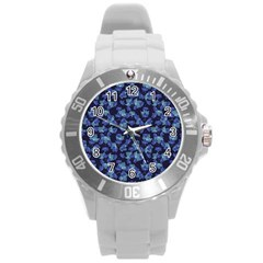 Autumn Leaves Motif Pattern Round Plastic Sport Watch (L)