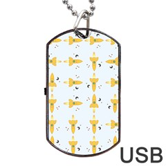 Spaceships Pattern Dog Tag USB Flash (Two Sides)