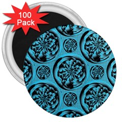 Turquoise Pattern 3  Magnets (100 pack)