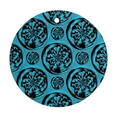 Turquoise Pattern Round Ornament (Two Sides)
