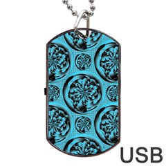 Turquoise Pattern Dog Tag USB Flash (Two Sides)
