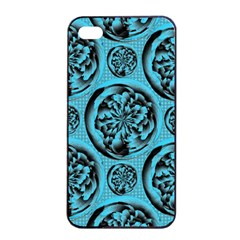 Turquoise Pattern Apple iPhone 4/4s Seamless Case (Black)
