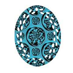 Turquoise Pattern Oval Filigree Ornament (Two Sides)