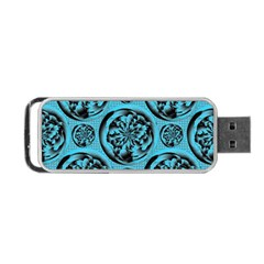 Turquoise Pattern Portable USB Flash (One Side)
