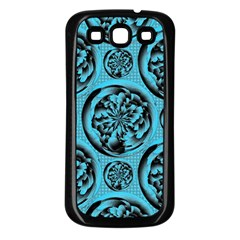 Turquoise Pattern Samsung Galaxy S3 Back Case (Black)