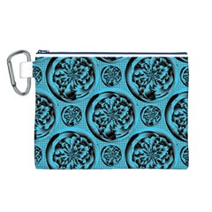 Turquoise Pattern Canvas Cosmetic Bag (L)