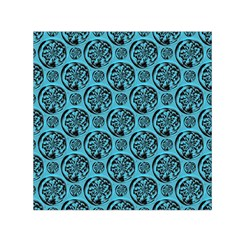 Turquoise Pattern Small Satin Scarf (Square)