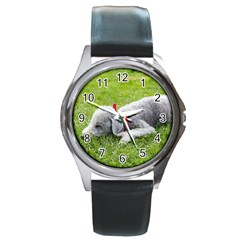 Bedlington Terrier Sleeping Round Metal Watch