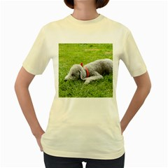 Bedlington Terrier Sleeping Women s Yellow T-Shirt