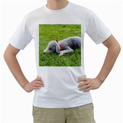 Bedlington Terrier Sleeping Men s T-Shirt (White) (Two Sided)