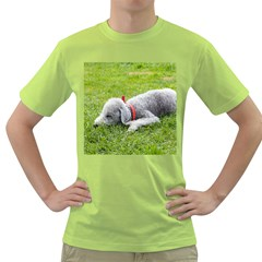 Bedlington Terrier Sleeping Green T-Shirt