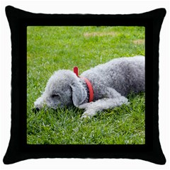 Bedlington Terrier Sleeping Throw Pillow Case (Black)