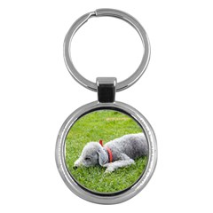 Bedlington Terrier Sleeping Key Chains (Round)