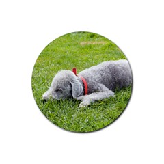 Bedlington Terrier Sleeping Rubber Round Coaster (4 pack)