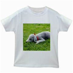 Bedlington Terrier Sleeping Kids White T-Shirts