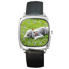 Bedlington Terrier Sleeping Square Metal Watch