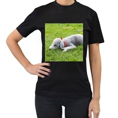 Bedlington Terrier Sleeping Women s T-Shirt (Black) (Two Sided)