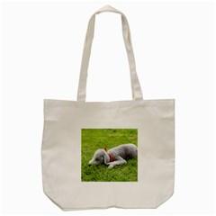 Bedlington Terrier Sleeping Tote Bag (Cream)