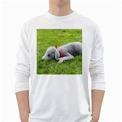 Bedlington Terrier Sleeping White Long Sleeve T-Shirts