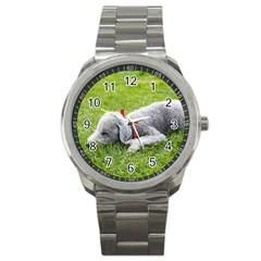 Bedlington Terrier Sleeping Sport Metal Watch