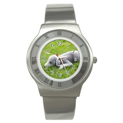 Bedlington Terrier Sleeping Stainless Steel Watch