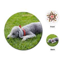 Bedlington Terrier Sleeping Playing Cards (Round)