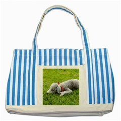 Bedlington Terrier Sleeping Striped Blue Tote Bag