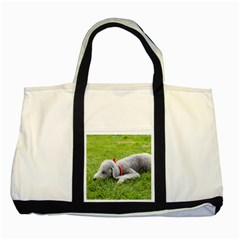 Bedlington Terrier Sleeping Two Tone Tote Bag